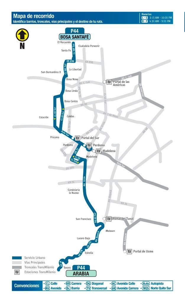 Mapa del recorrid  de la ruta P44