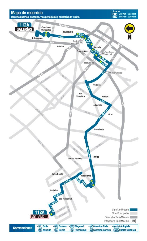 Mapa de la ruta 112A
