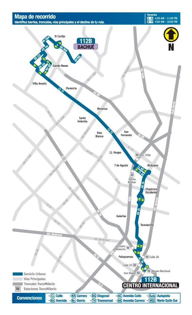 Mapa del recorrido de la ruta 112B