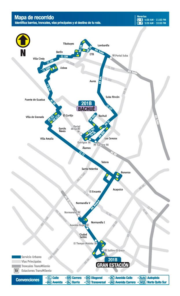 Mapa de recorrido de la ruta 201B