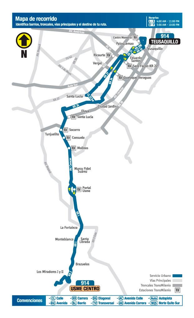 Mapa  de la ruta 914A