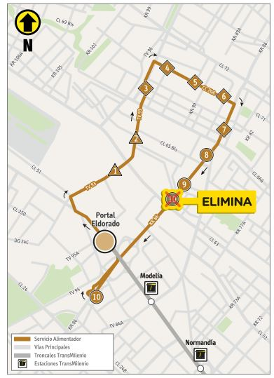 Mapa del recorrido de la ruta 16-3