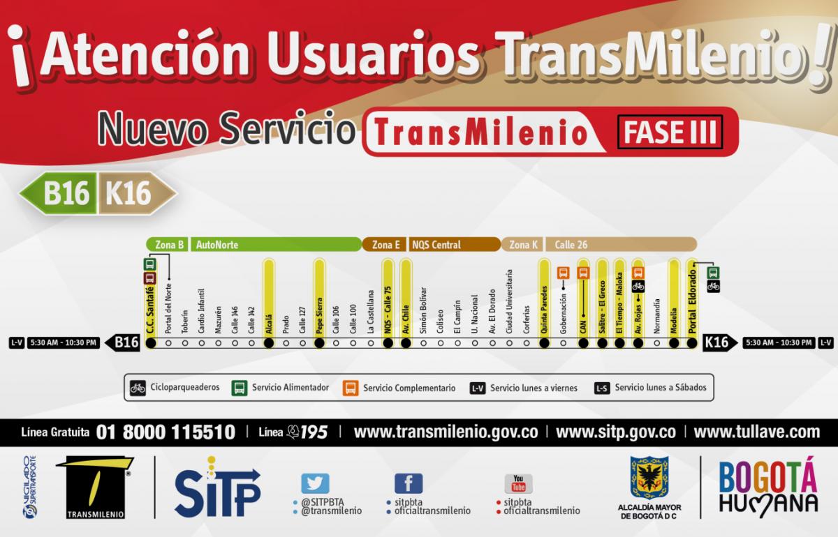 Inicio De Operacion Servicio B16 K16 Portal Eldorado Nqs Estacion C C Santafe