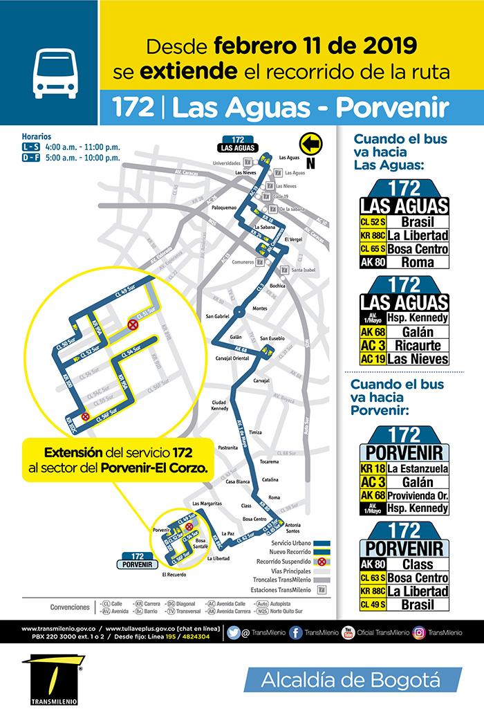 Mapa de la ruta 172