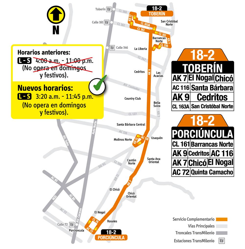 Mapa de la ruta 18-2 y su nuevo horario