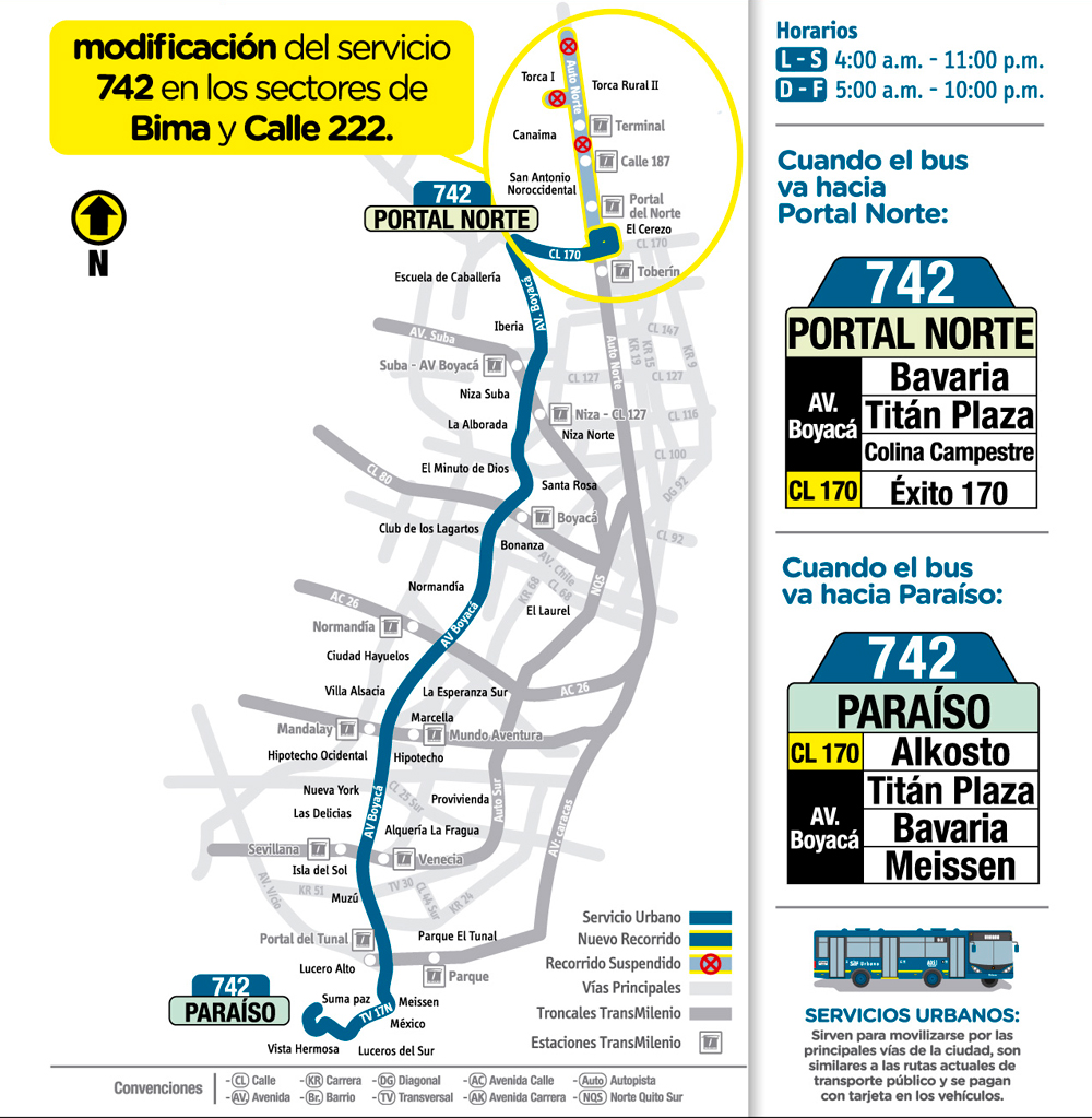 Mapa con la novedad de la ruta 742