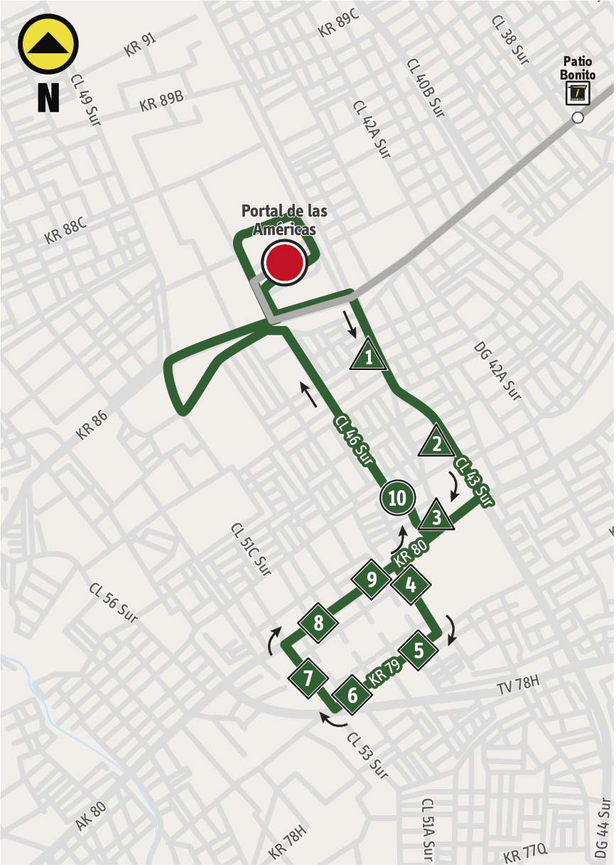 Mapa de la ruta alimentadora 9-1