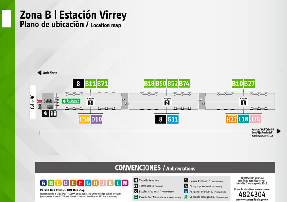 Estación Virrey puntos de parada ahora