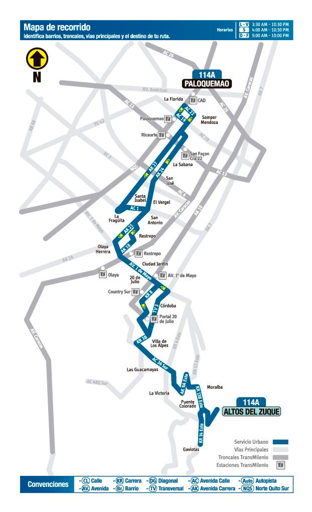 Mapa de la ruta 114A