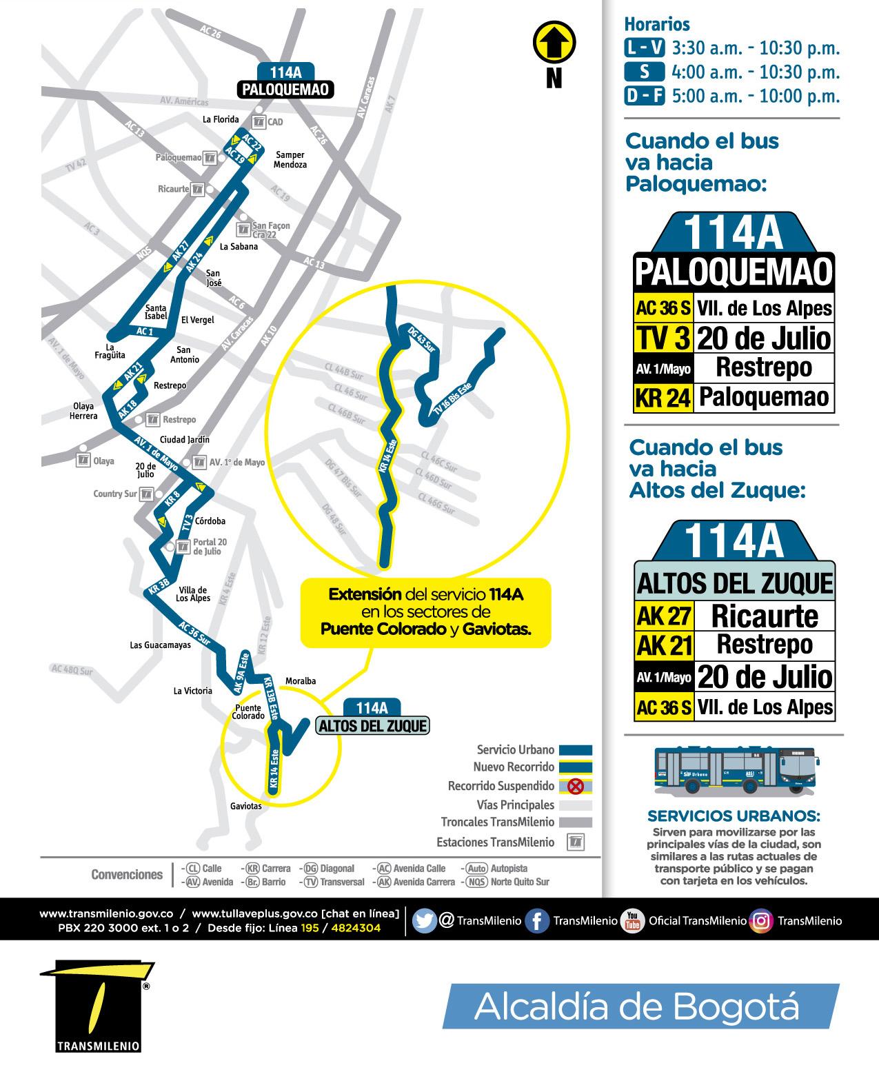 información de la extensión de la ruta 114A