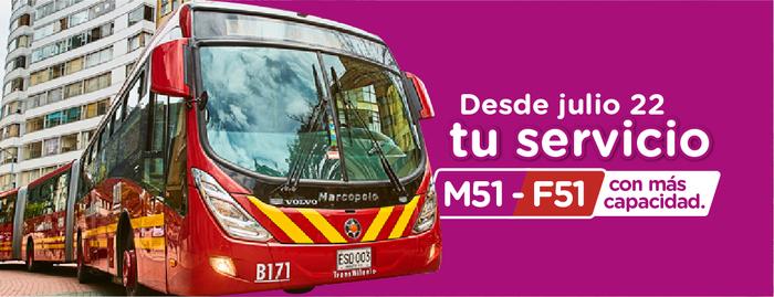 ¡Usuarios! Ruta M51 – F51 tendrá más capacidad