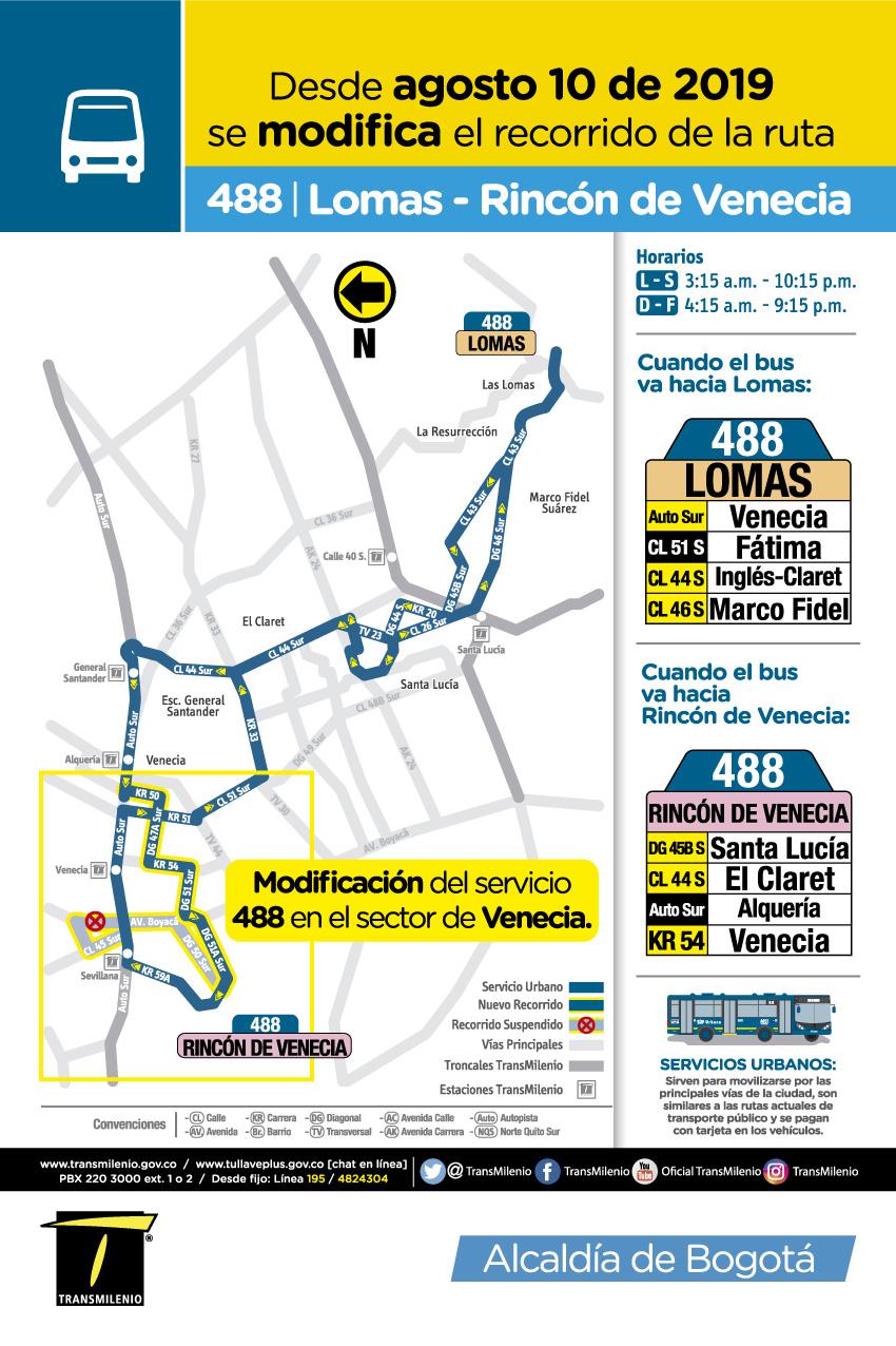 Mapa de la ruta urbana 488 Novedad operacional