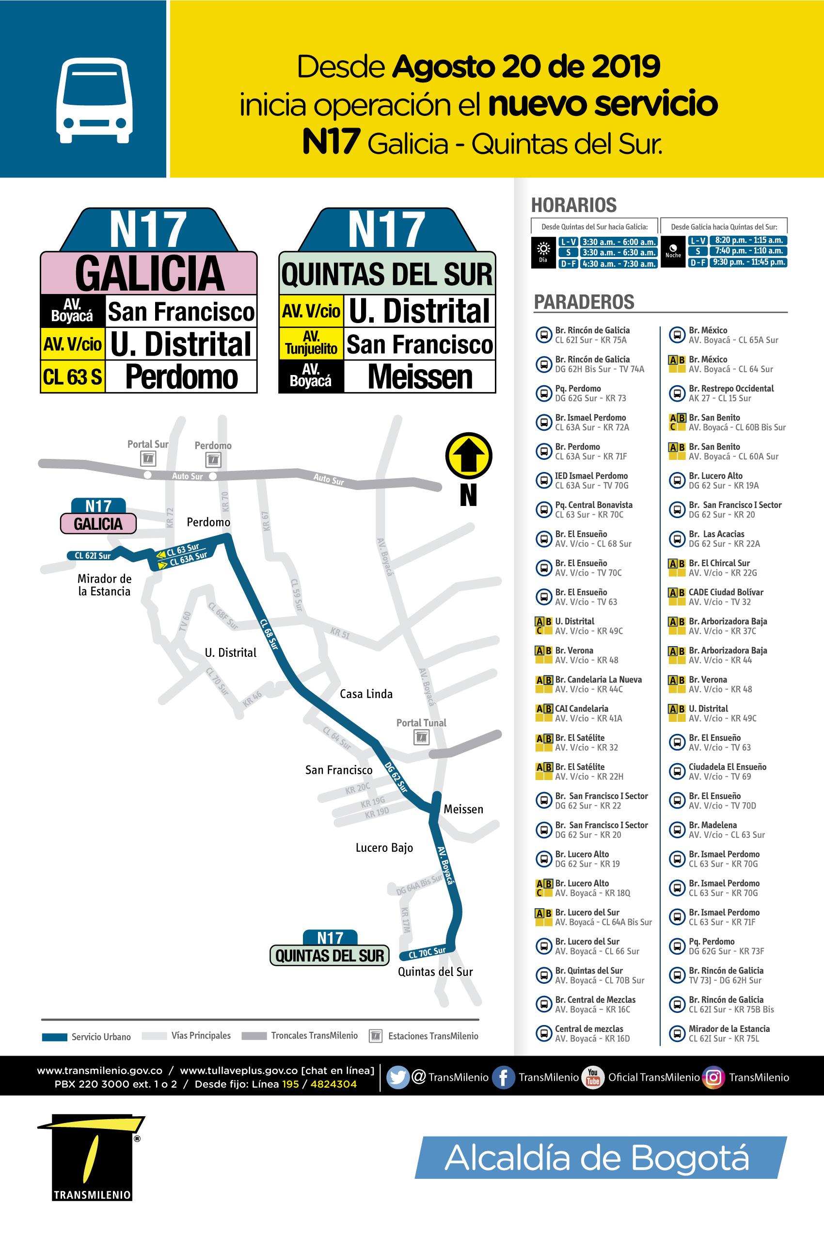 Mapa del nuevo servicio N17