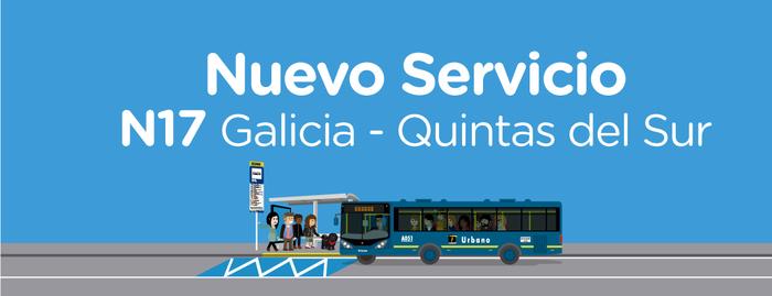 Entra en operación el servicio N17 Galicia Quintas Del Sur
