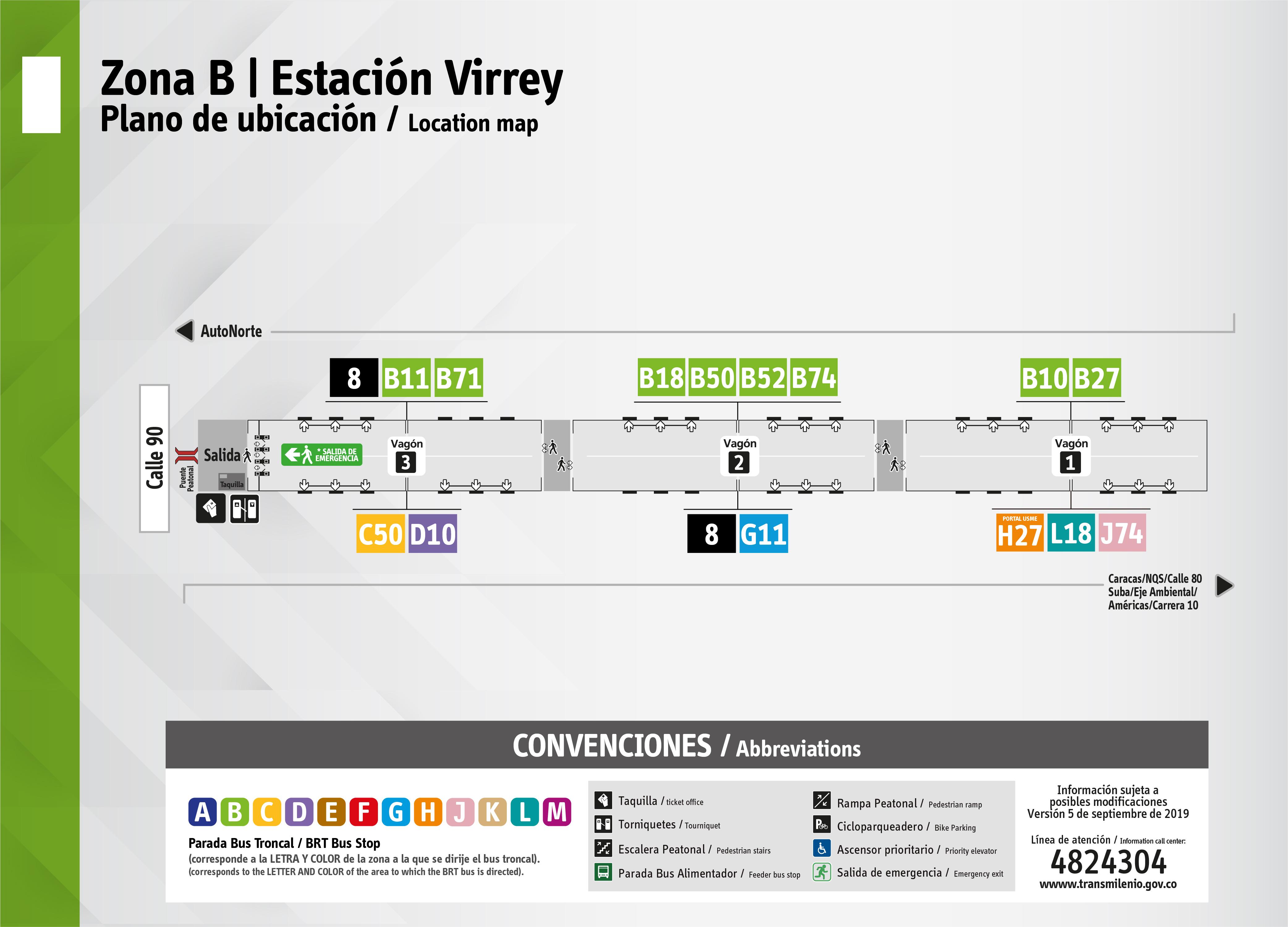 Plano de estación Virrey