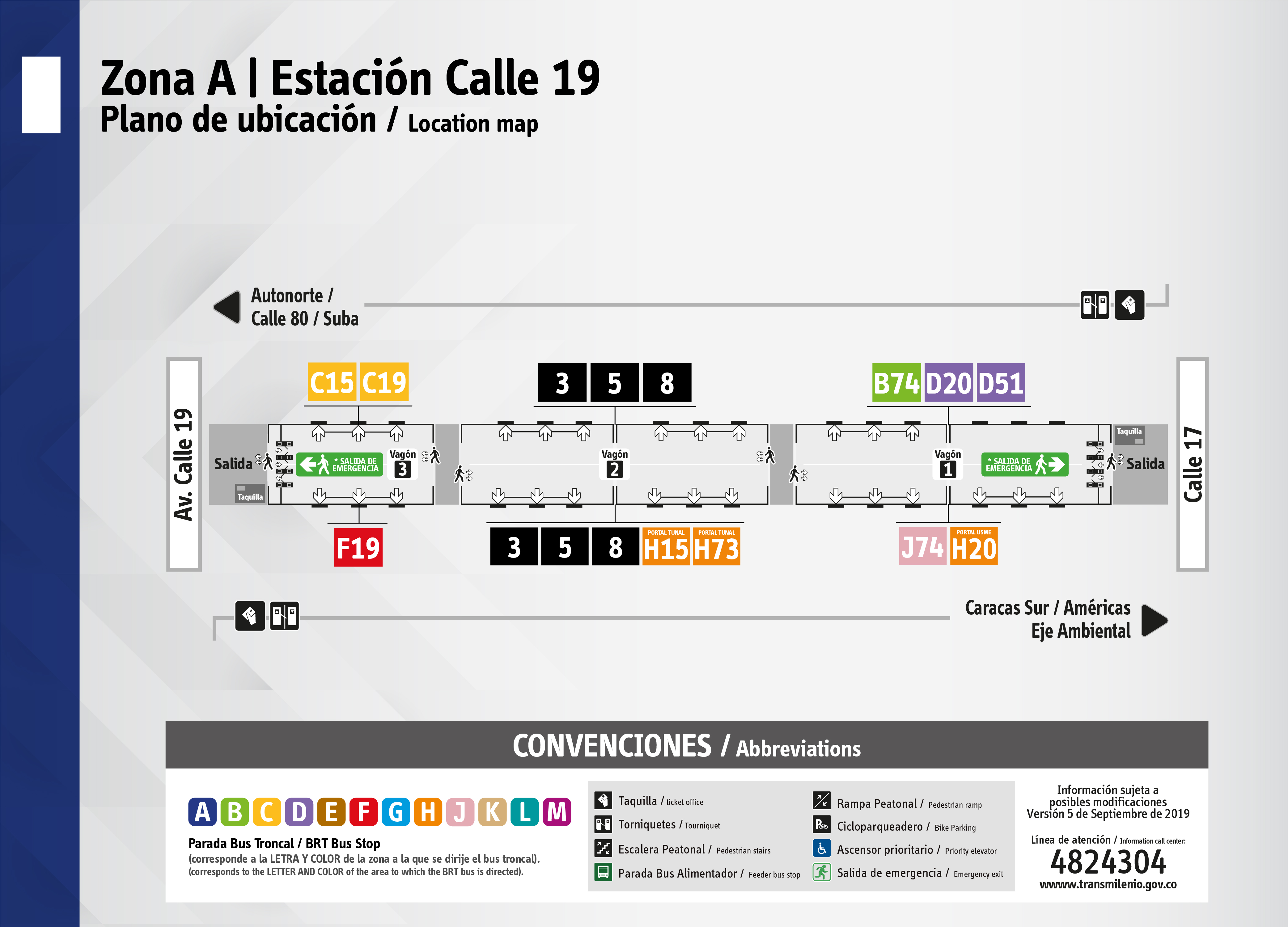 Plano de estación Calle 19