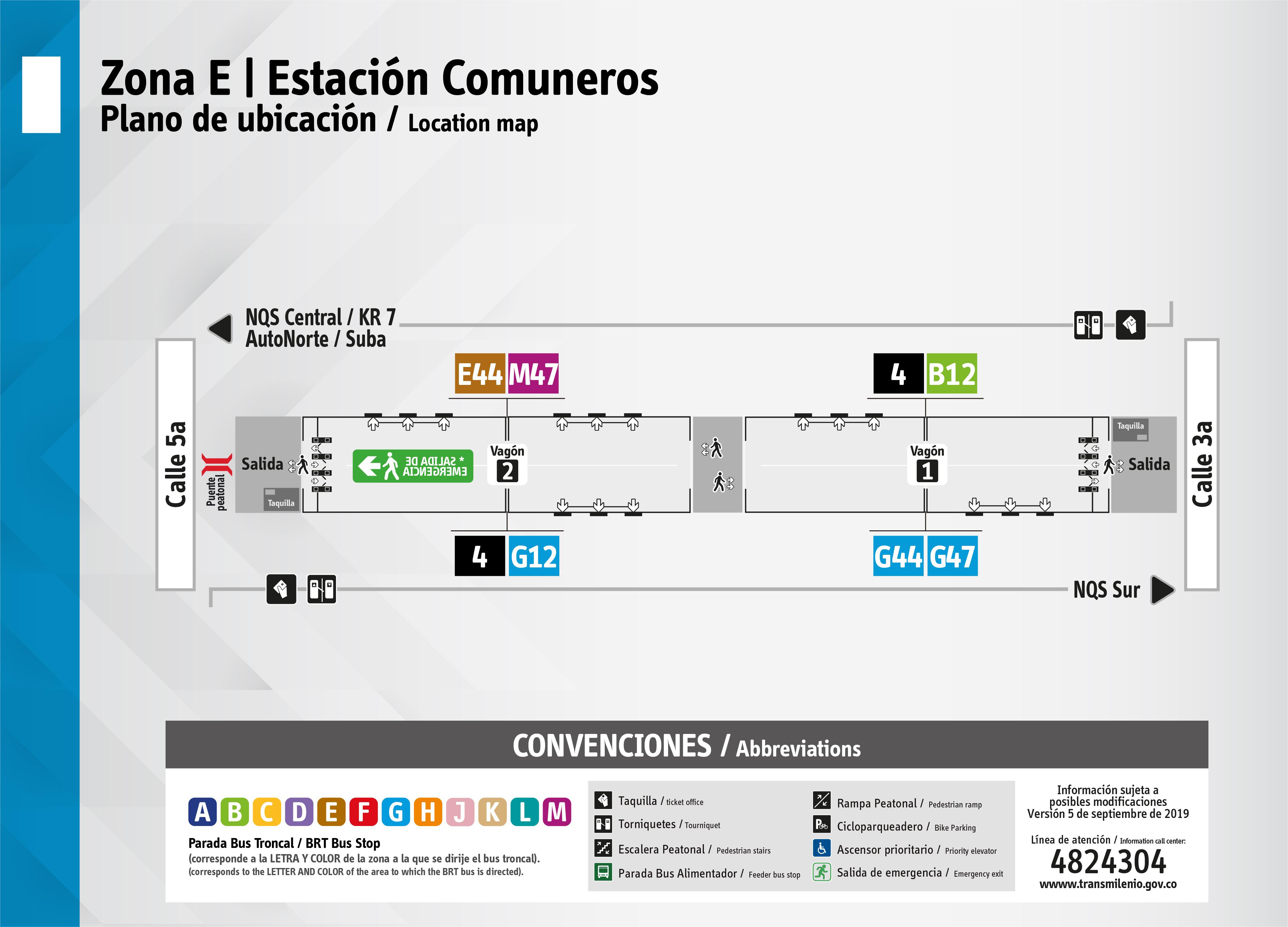Plano de estación Comuneros