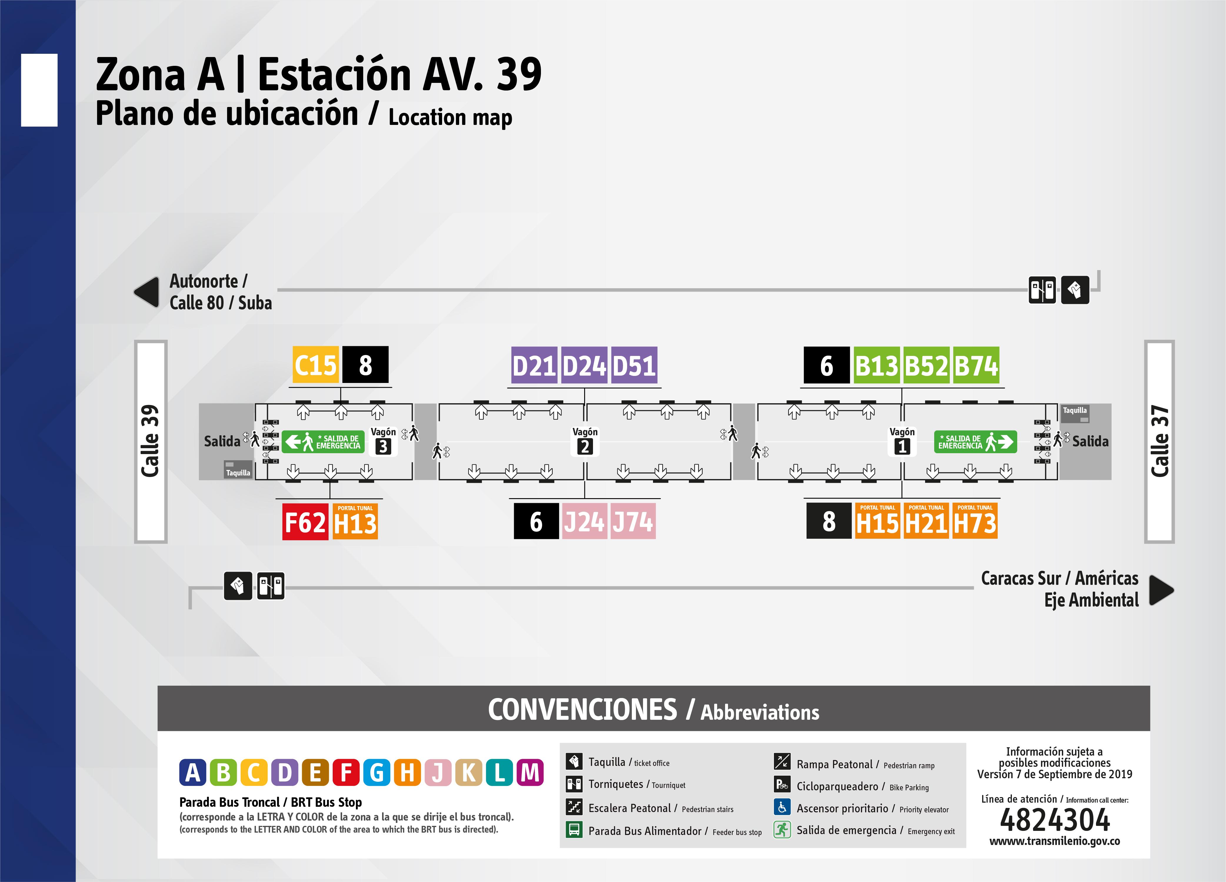 Plano de estación  Av. Calle 39