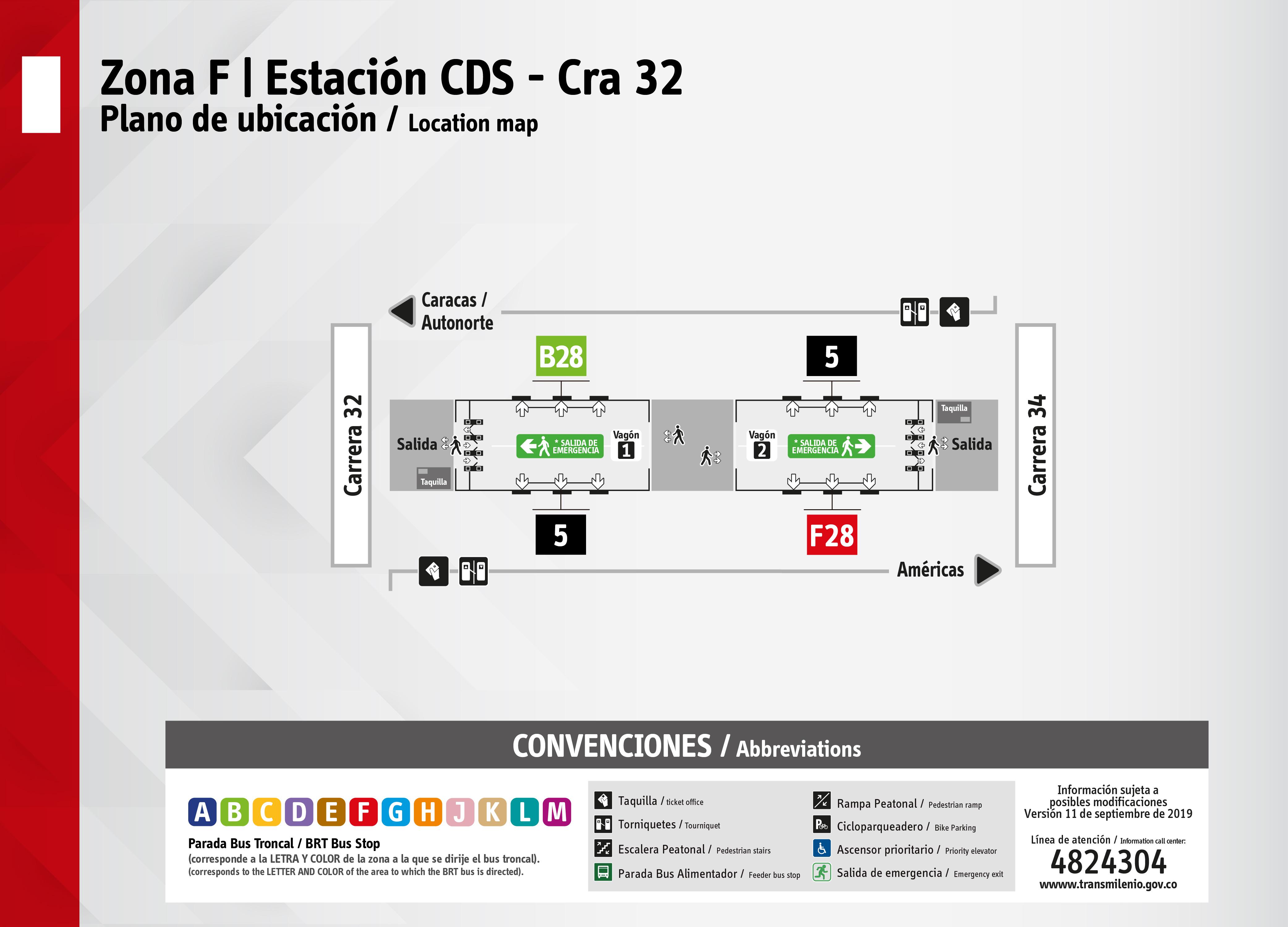 Plano de estación de la CDS carrera 32