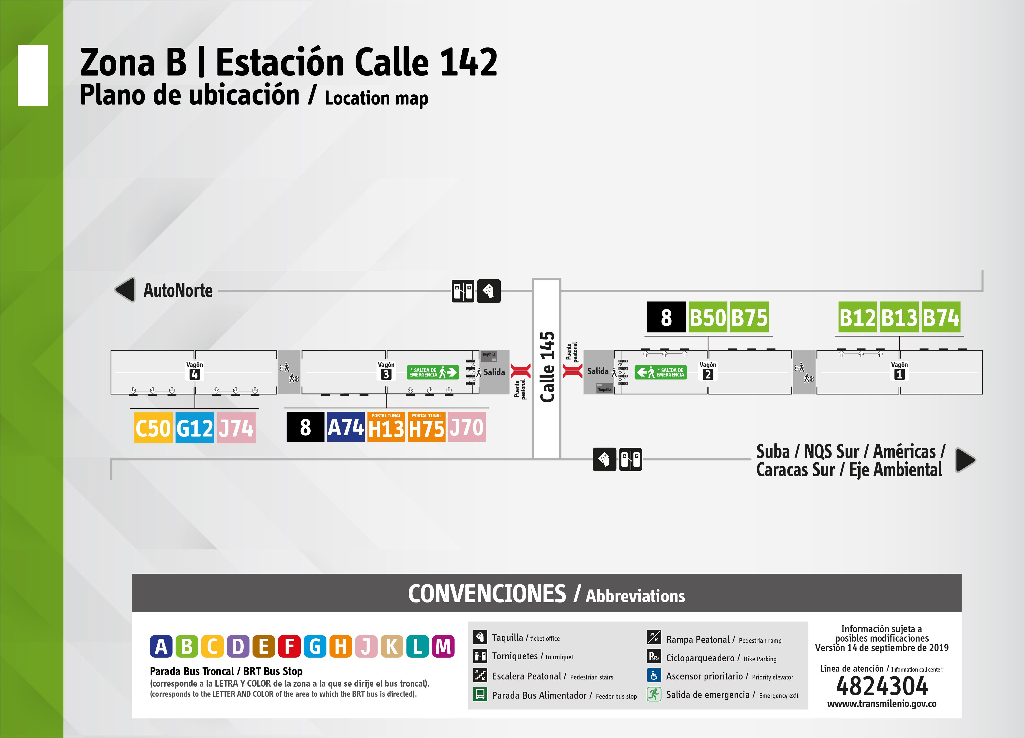 Plano de estación calle 142