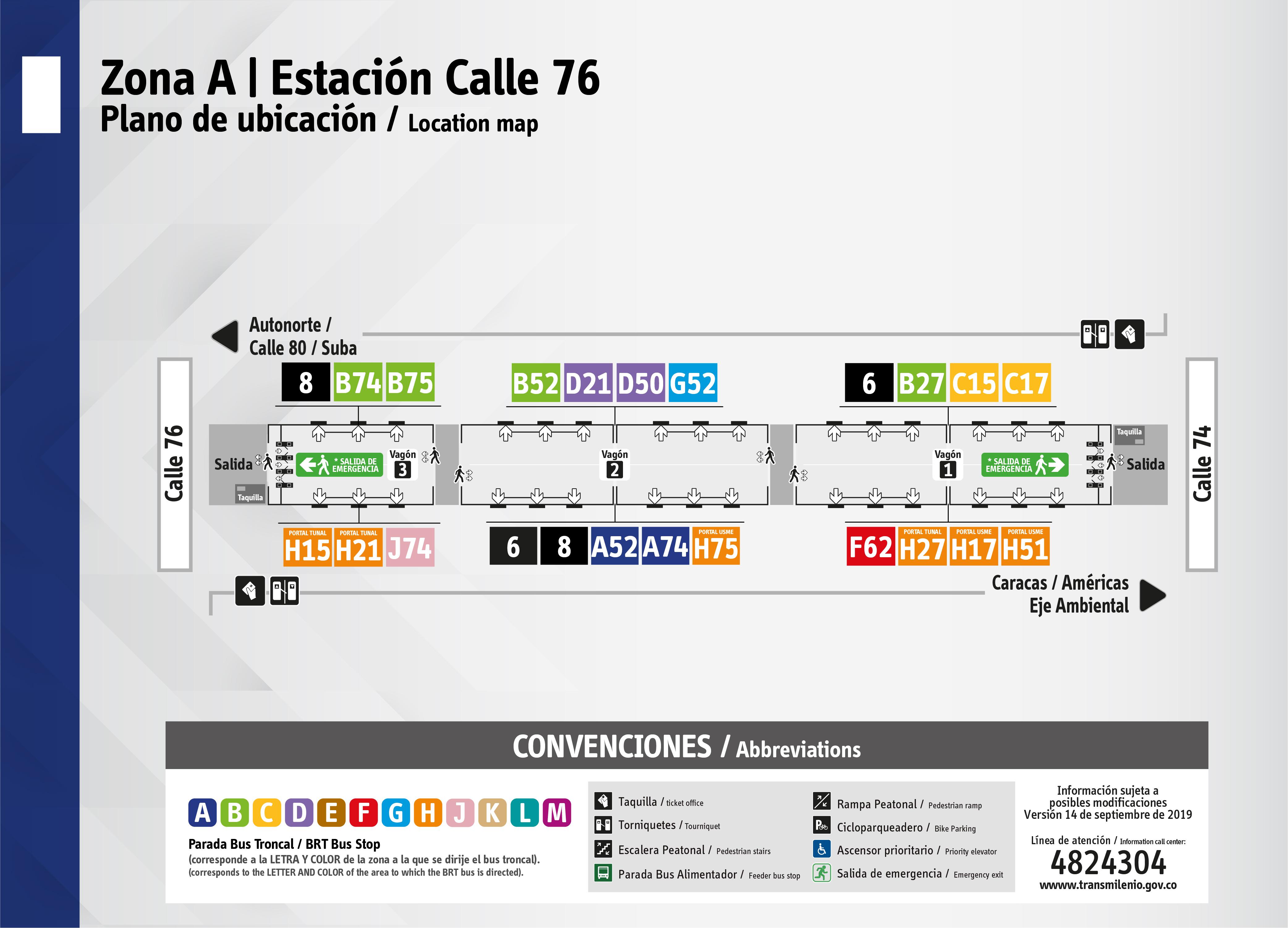 Plano de estación Calle 76