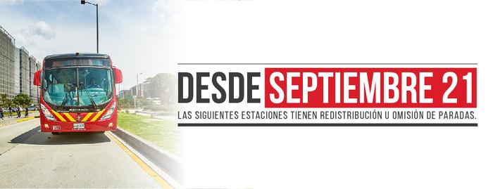 Continúan los cambios operacionales en TransMilenio desde el 21 de septiembre
