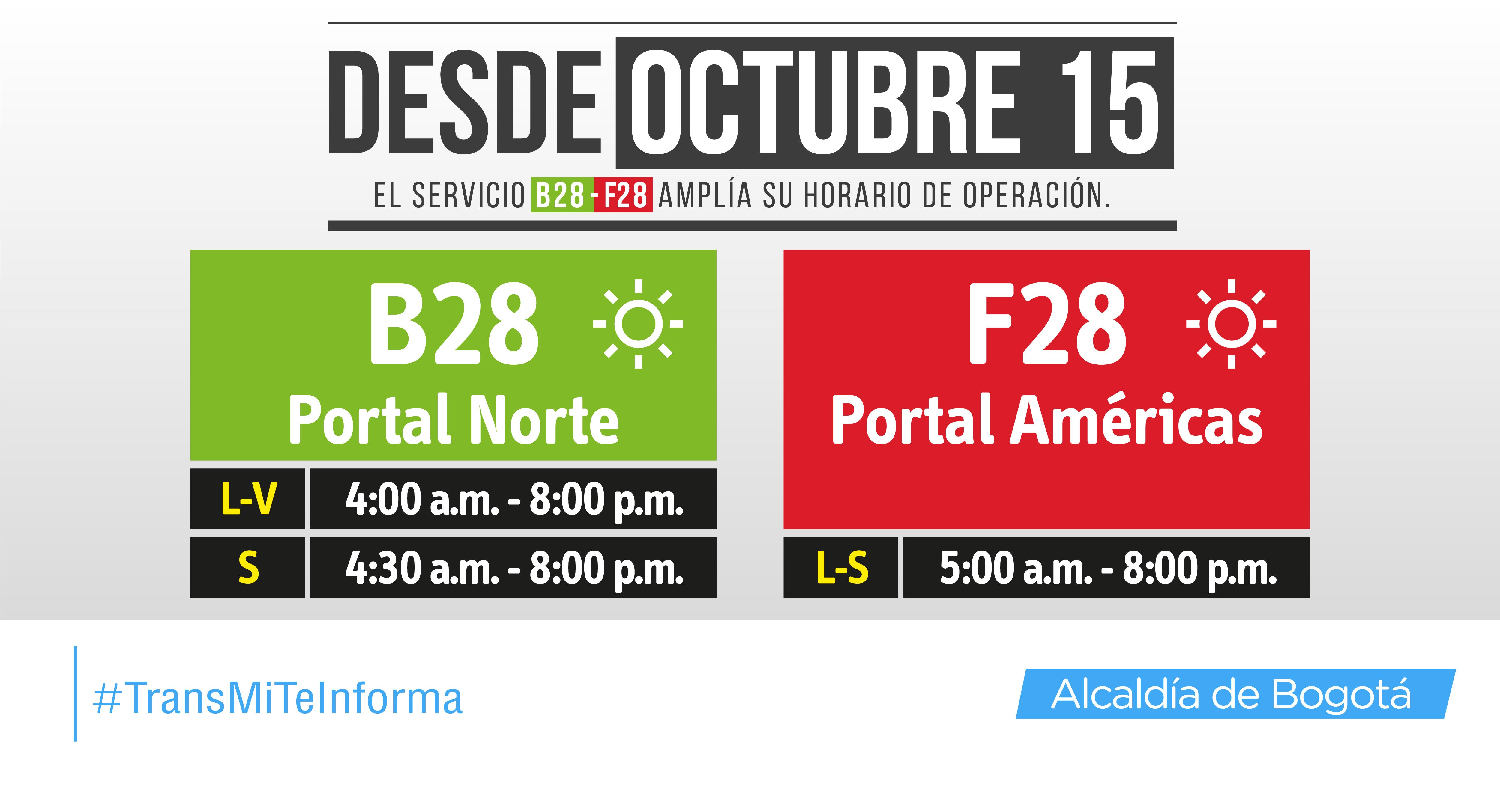 Nuevo horario de servicios torncales B28-F28