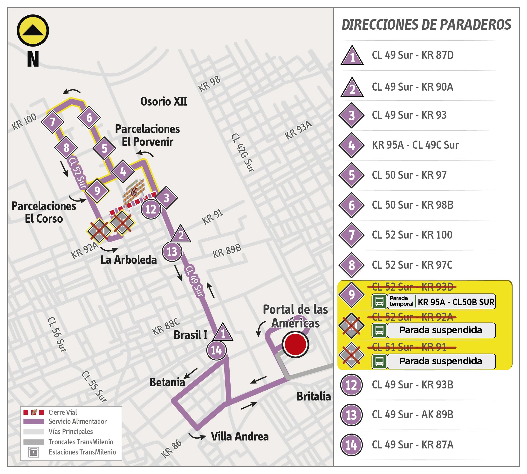 Mapa de la ruta alimentadora 9-8