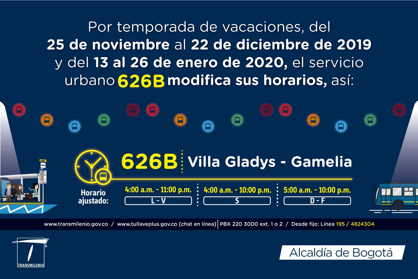 626B Villa Gladys Gamelia horario ajustado para navidad