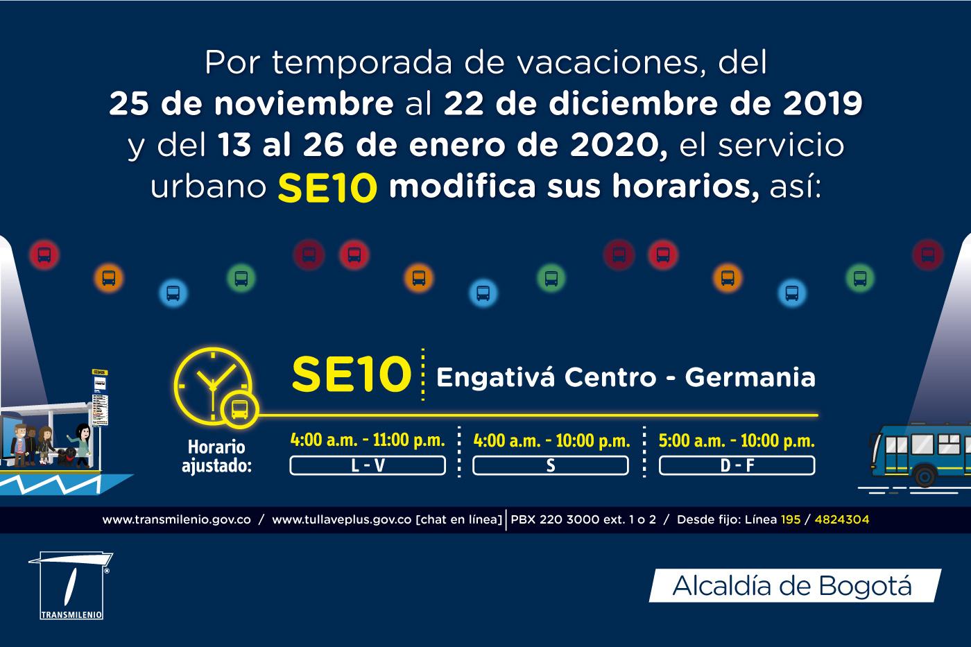 SE10 Engativá Centro Germania horario ajustado para navidad