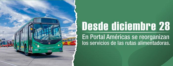 Conoce la reorganización de las rutas alimentadoras en el Portal Américas