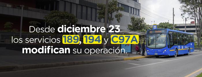 ¡Recuerda que las rutas 189, 194 y C97A modifican su operación!