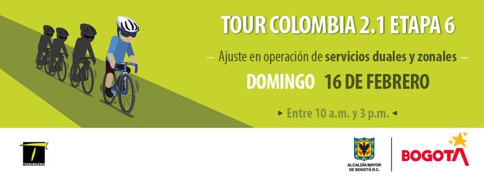 Conozca los ajustes del Sistema por el Tour Colombia 2.1, etapa 6