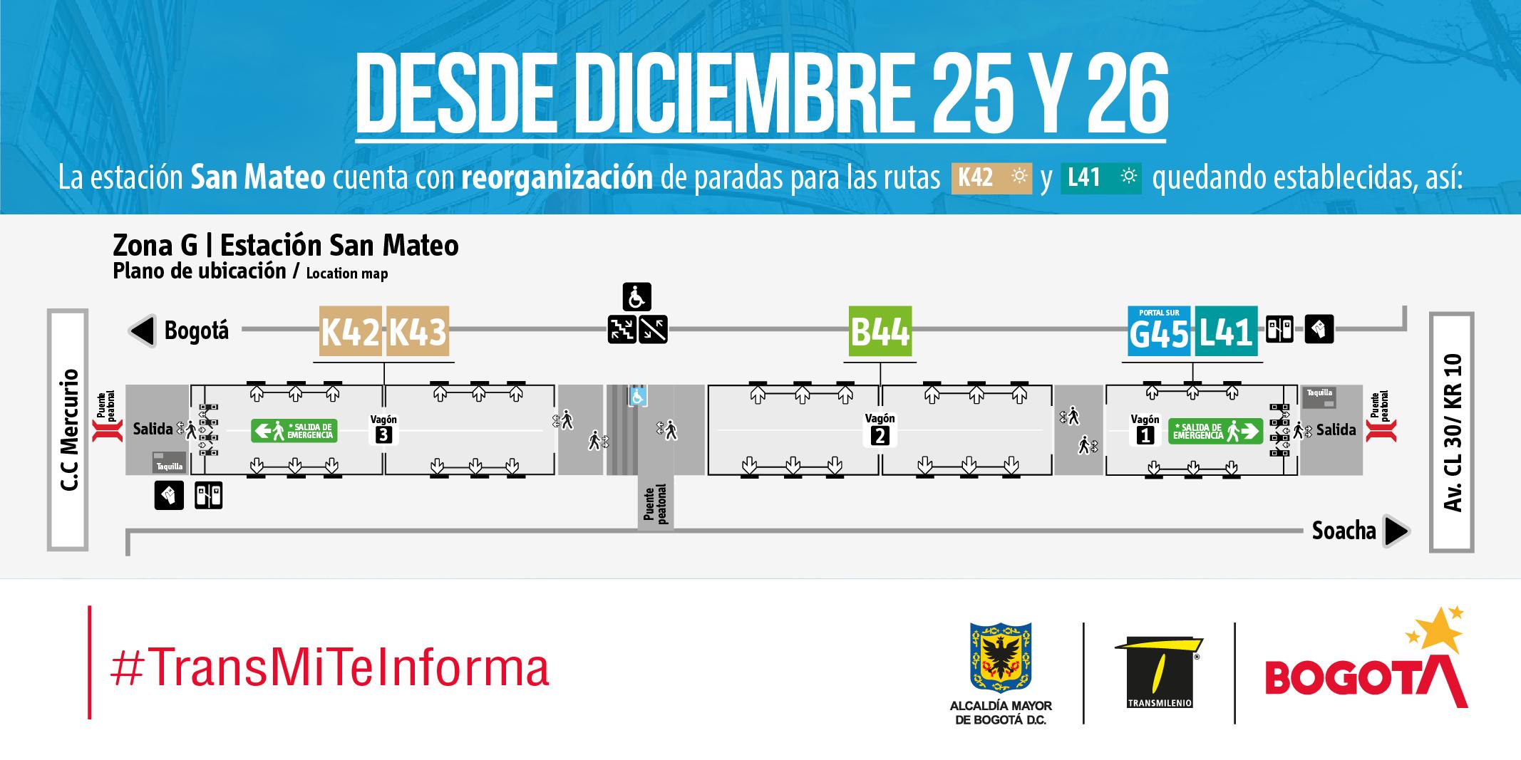 Mapa estaciones rutas TransMilenio estación San Mateo