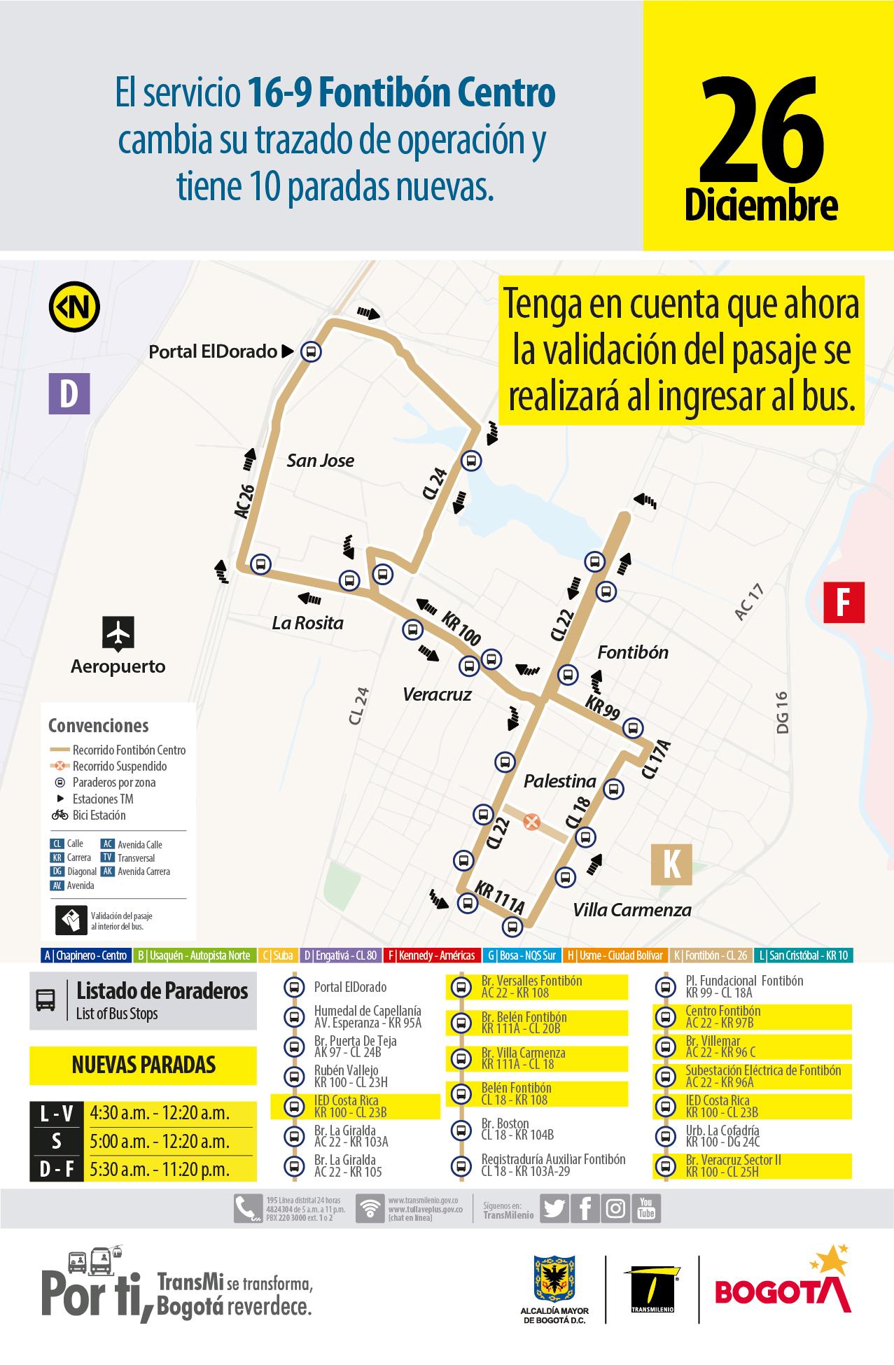 Ruta 16-9 Fontibón Centro