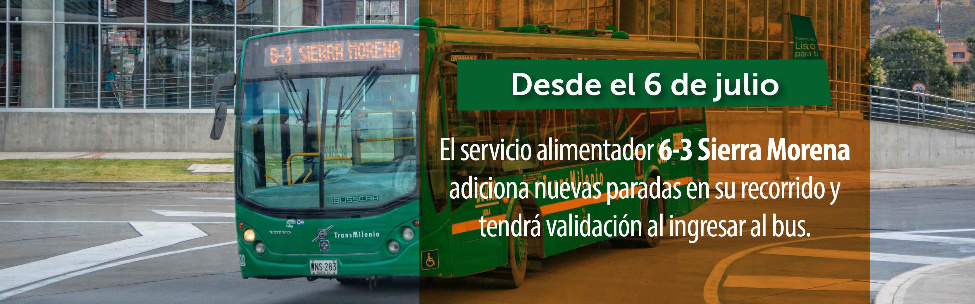Servicio alimentador 6-3 Sierra Morena adiciona nuevas paradas a su recorrido