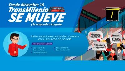 2bbafab3453 Desde el 16 de diciembre TransMilenio implementa nuevos cambios en  estaciones de la troncal Caracas -